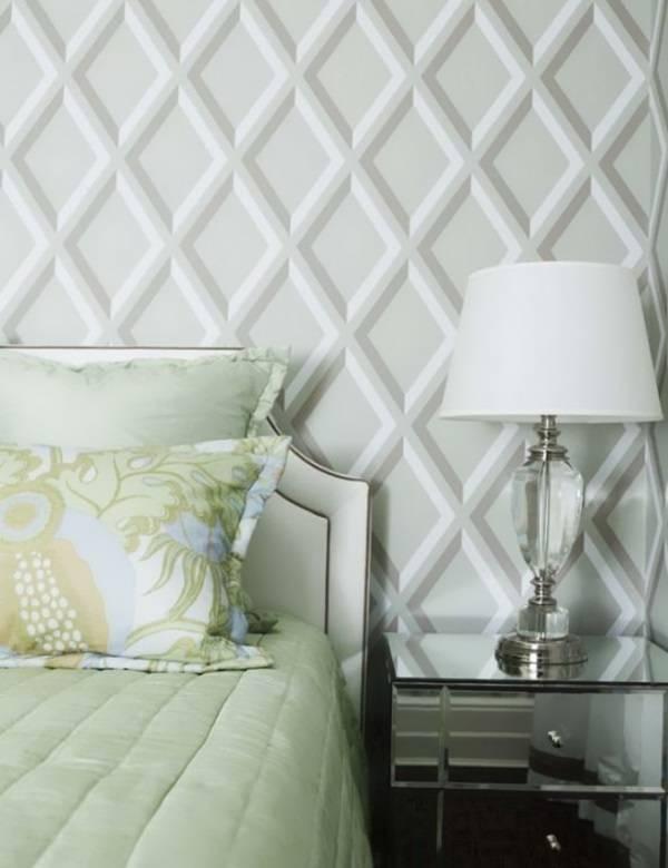 Yatak odasında geometrik desenli duvar kağıdı