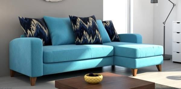 Mavi renkli küçük köşe kanepe fotoğrafı
