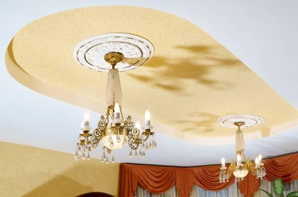 Tavandaki sıvı duvar kağıdı - oturma odası tasarımında fotoğraf