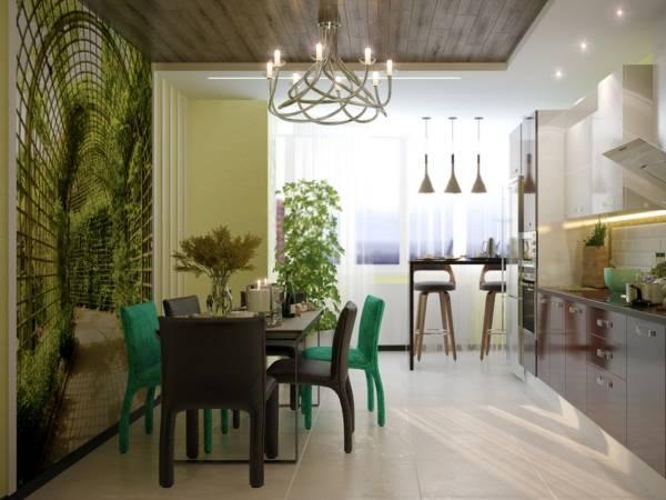 3D fotoğraf duvar kağıdı ile şık mutfak tasarımı