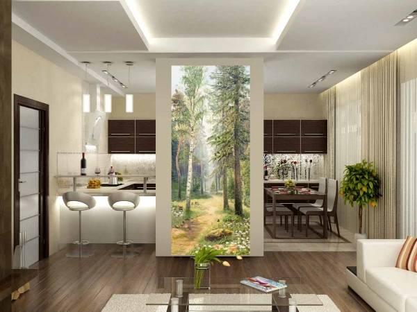 Mutfağın iç kısmında güzel fotoğraflı duvar kağıdı - orman, doğa