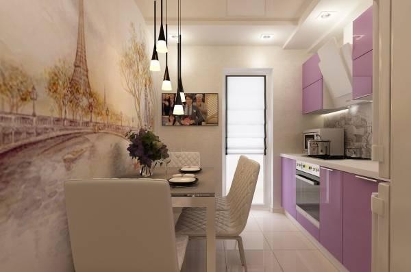 Fransız tarzında masanın yakınındaki mutfak için duvar kağıdı