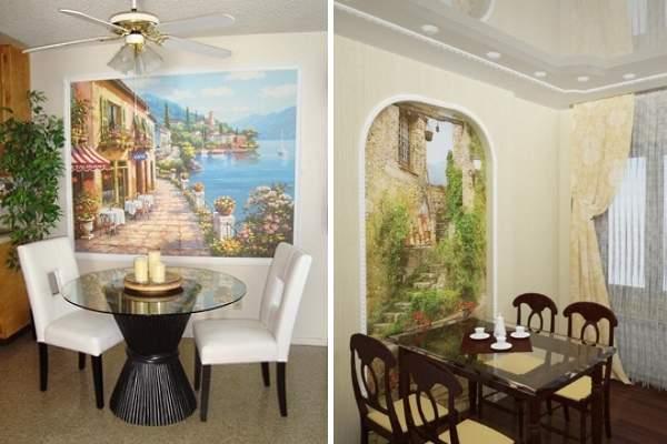 Mutfakta kalıplama ile fotoğraf duvar kağıdının dekorasyonu