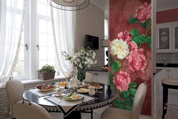 Mutfak için dar fotoğraflı duvar kağıdı - duvarlarla fotoğraf kombinasyonu