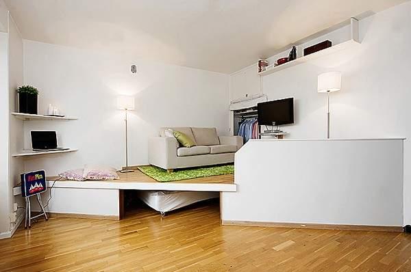 küçük tek odalı bir dairenin iç tasarımı, fotoğraf 26