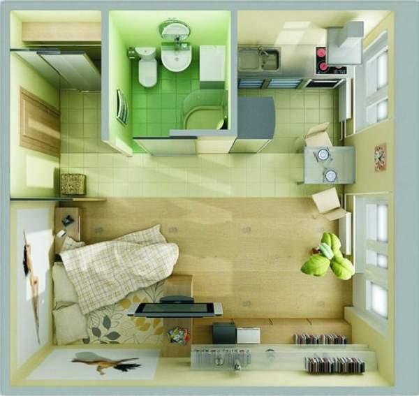 tek odalı küçük bir dairenin tasarımı, fotoğraf 28