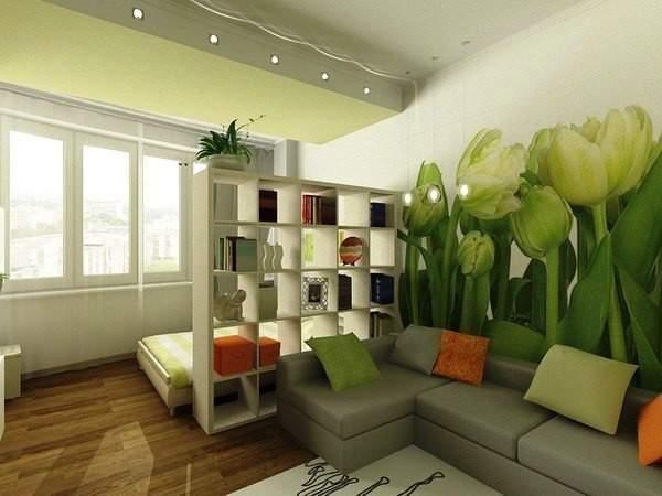 küçük tek odalı bir dairenin iç tasarımı, fotoğraf 17