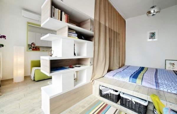 küçük tek odalı bir dairenin iç tasarımı, fotoğraf 1