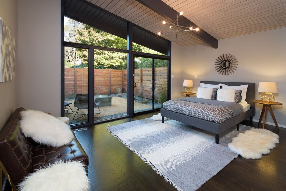 dekorasi kamar tidur mid-century modern
