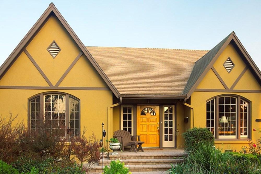Warna Cat Dinding Luar Rumah yang Cerah Mustard