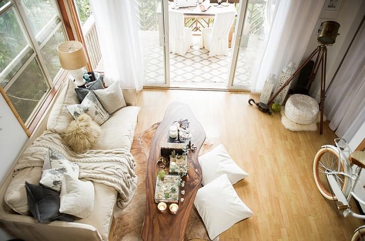 Desain Apartemen Ala Bohemian Modern Bernuansa Netral