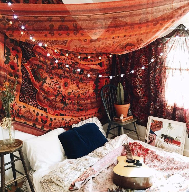 mandala tapestry langit-langit dekorasi kamar
