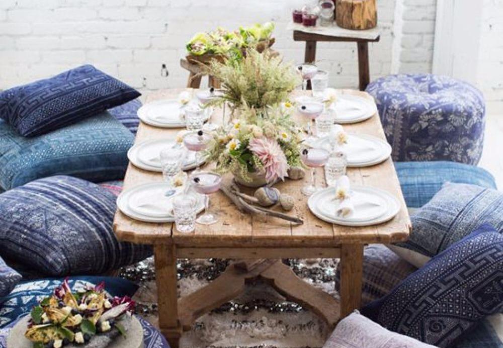 ruang makan meja rendah