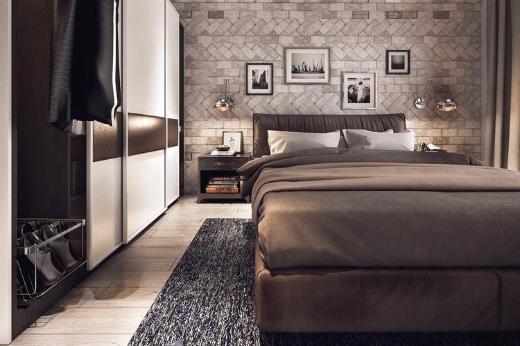 interior kamar tidur industrial modern
