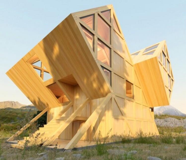 Desain rumah unik geometris dengan bentuk belah ketupat