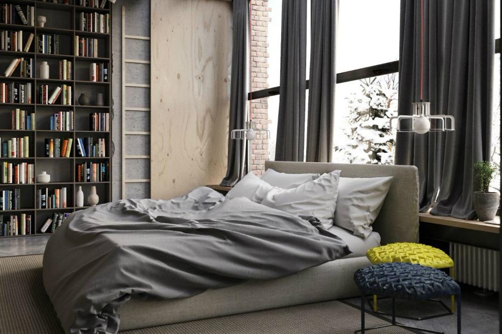 Interior kamar tidur industrial dengan jendela besar