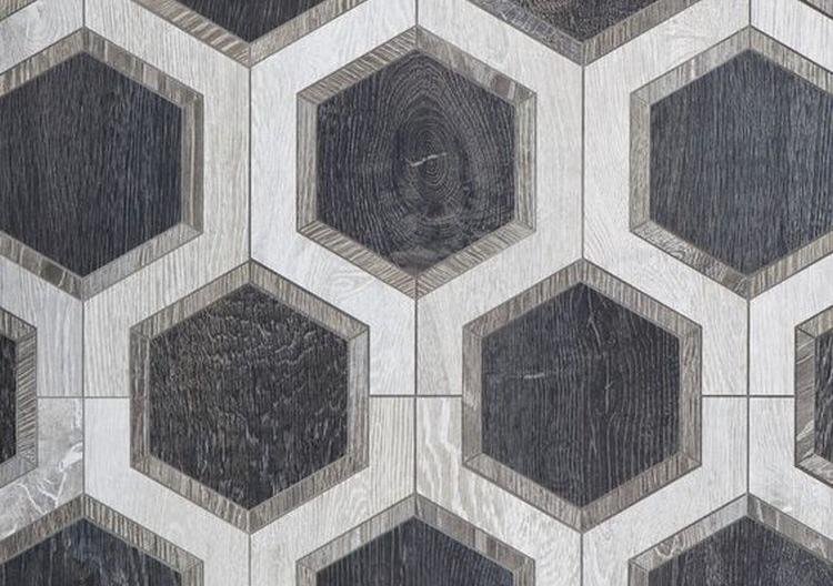 keramik motif kayu segi enam