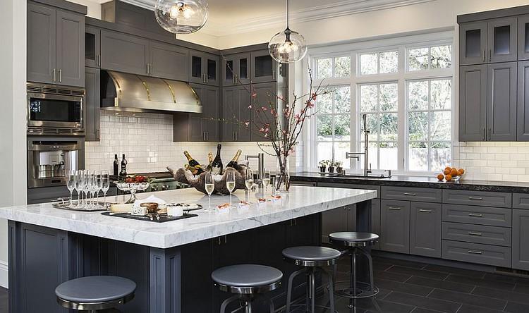 Desain dapur minimalis bentuk L yang didominasi warna abu-abu