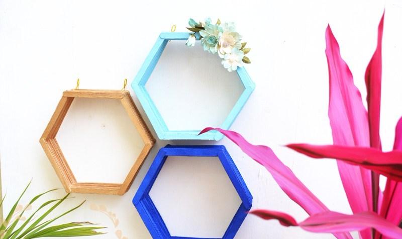 hiasan rumah rak hexagonal