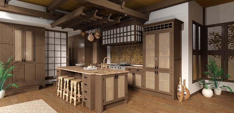 Dominasi kayu dan rotan di dapur bersih