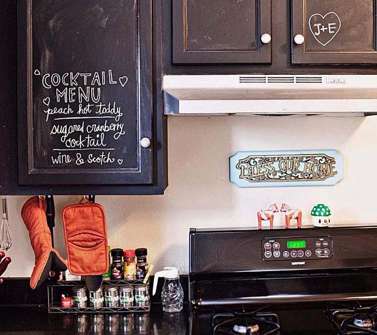 Kitchen cabinets with blackboard doors