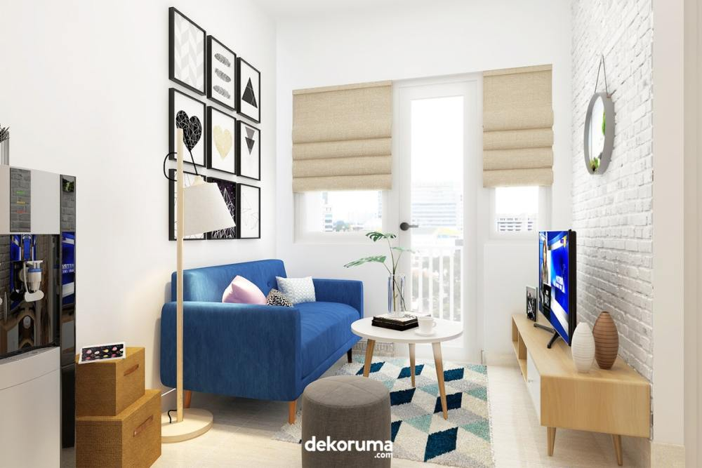 Lebar desain ruang TV dan penataan sofa