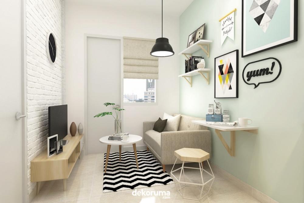 Interior ruang keluarga bergaya Skandinavia