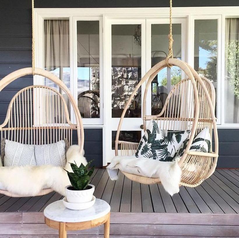 kecantikan tampilan kursi bambu
