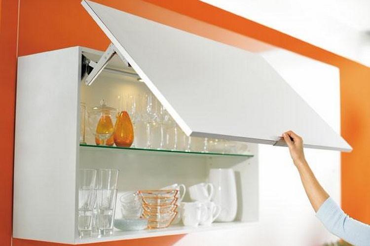 Kitchen cabinet with door openings up