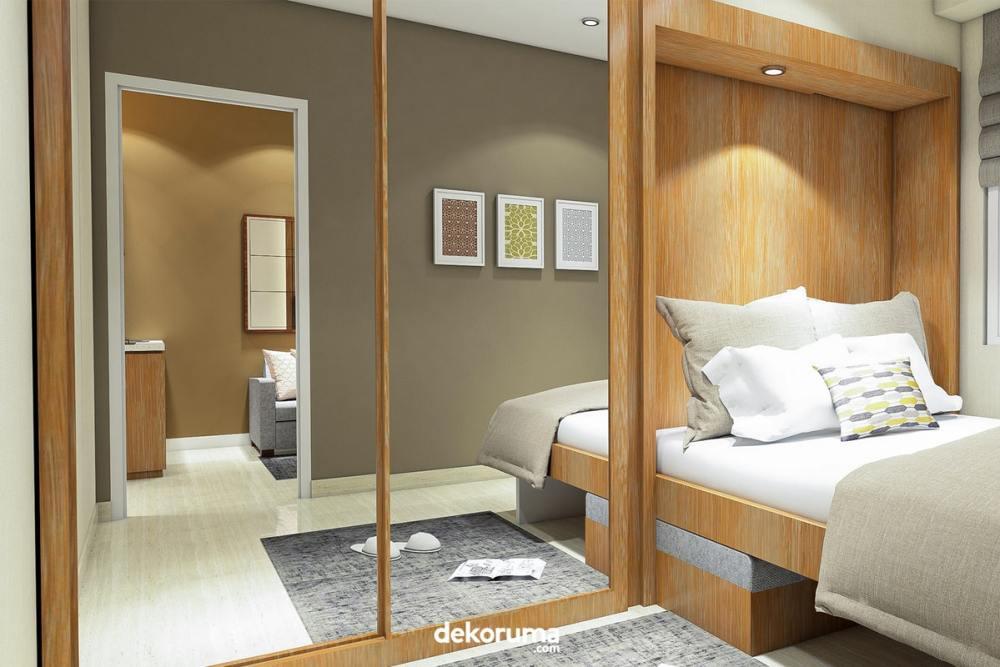 Desain Lemari Pakaian Pintu Geser dengan Cermin Besar