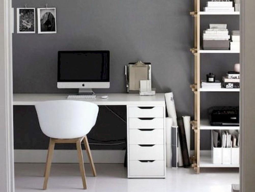 Abu-abu warna cat interior rumah ruang kerja
