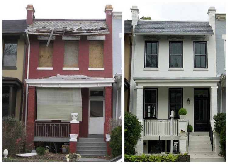 Rumah tua yang direnovasi dengan gaya berbeda