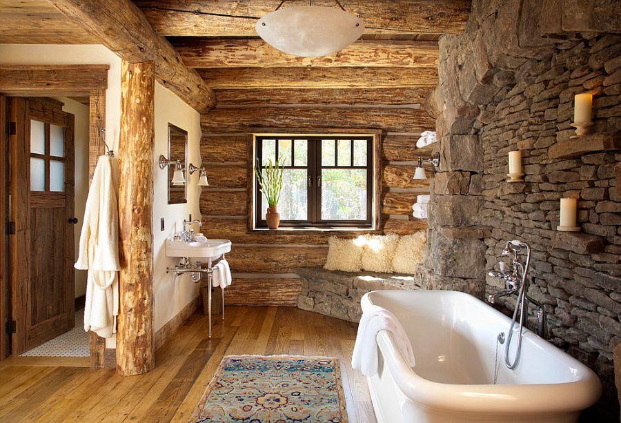 Desain kamar mandi batu alam kombinasi dengan kayu