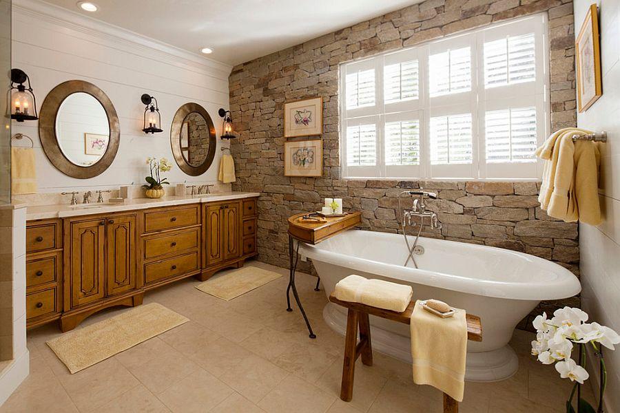 Batu alam sebagai focal point desain kamar mandi batu alam