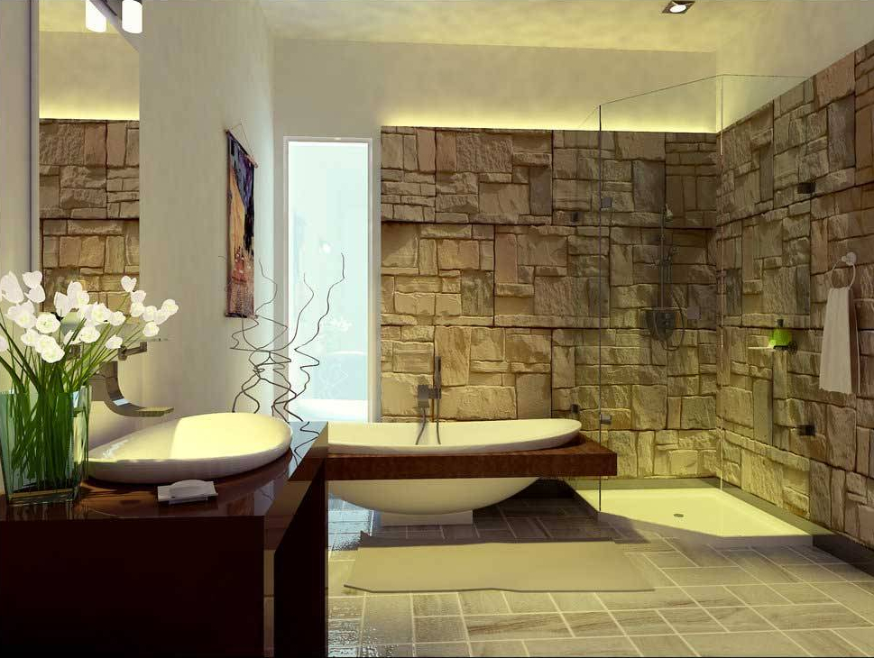 7 Desain Kamar Mandi Batu Alam, Kesan Naturalnya Bikin Rileks!