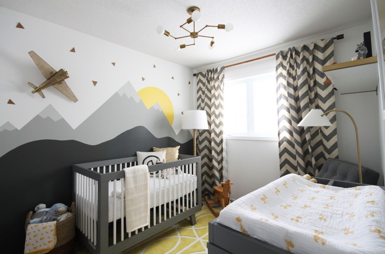 Kamar anak dengan gradasi warna abu-abu putih