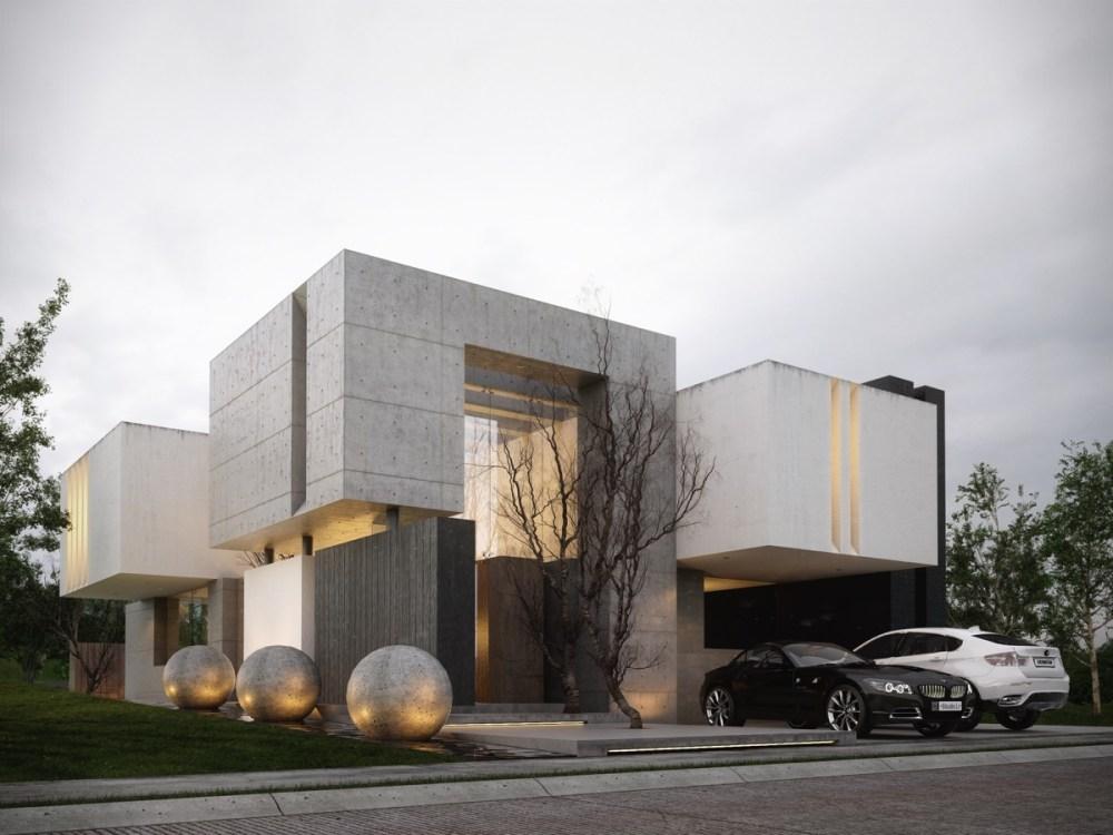 Bermain dengan Warna dan Beton Ekspos untuk Fasad Rumah yang Lebih Hidup