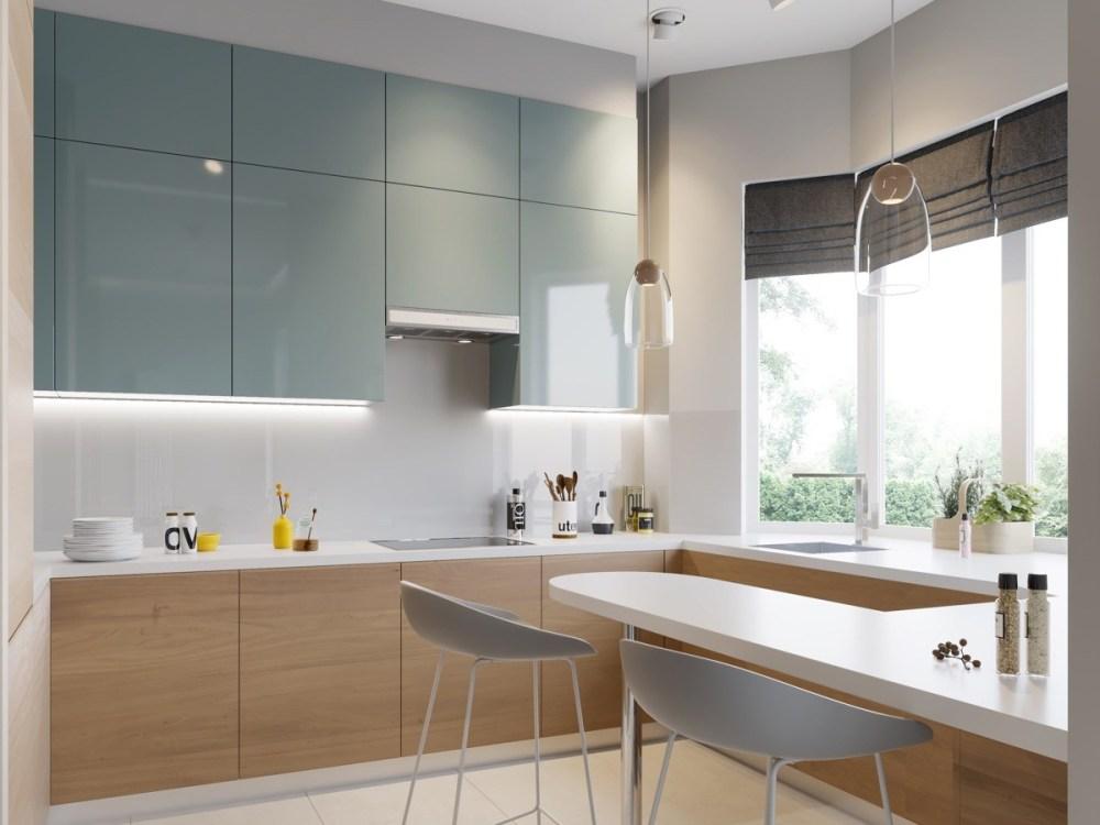 Dapur minimalis modern dengan pencahayaan
