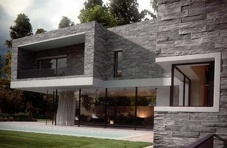 Desain rumah minimalis dua lantai dengan batu alam