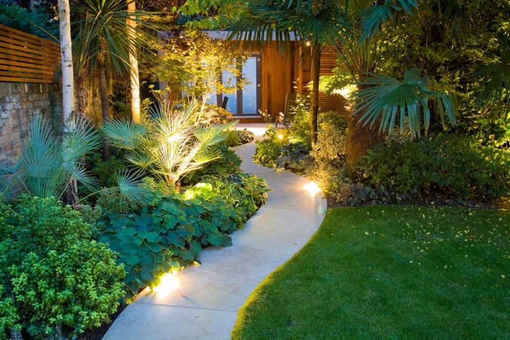 Landscape taman minimalis depan rumah bergaya tropis