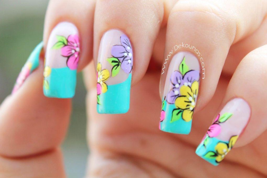 Decoración de uñas flores3-3