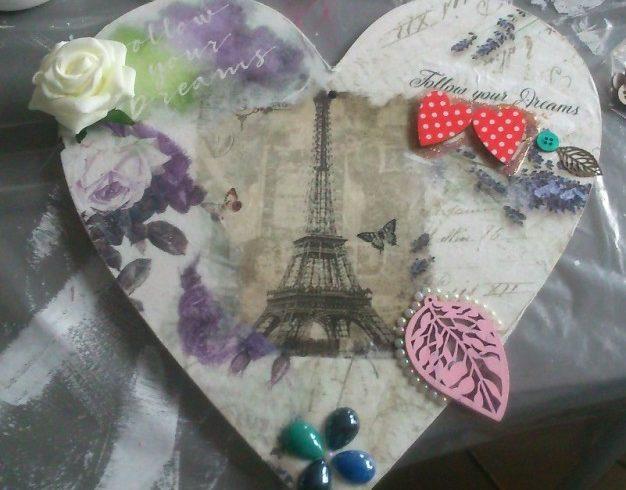 warsztaty decoupage'u Leszno Dwie Babeczki serce Paryż