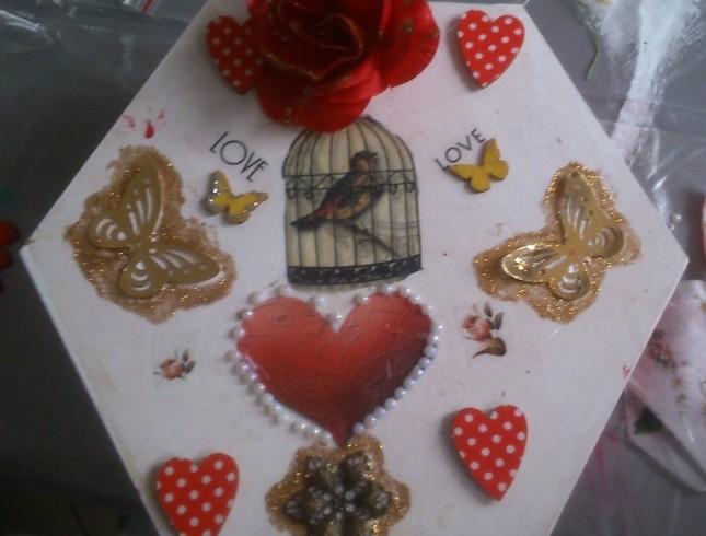 warsztaty decoupage'u Leszno Dwie Babeczki pudełko z ptaszkiem i motylkami