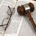 gavel, glasses, law book