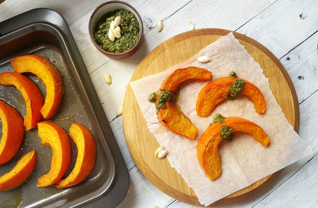 Roast Pumpkin Pesto Wedges; Delalicious