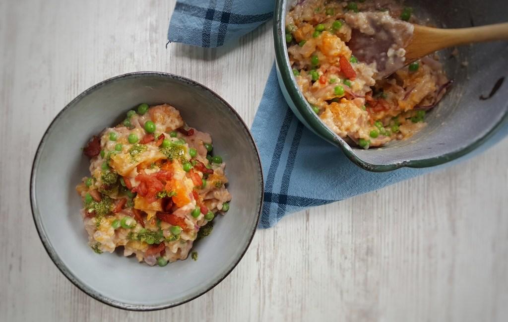Bacon, Squash & Pea Oat Risotto; Delalicious