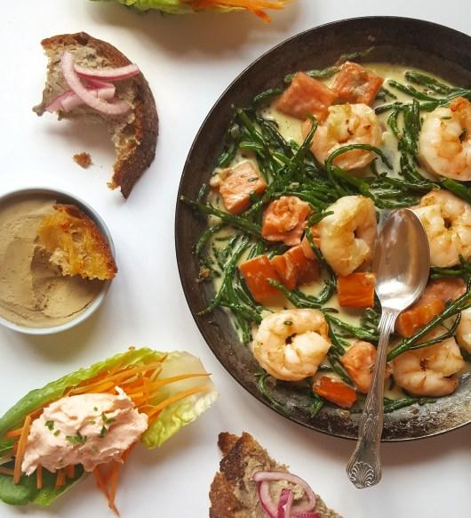 Creamy Garlic Prawns, Salmon & Samphire; Delalicious; Sinead Delahunty