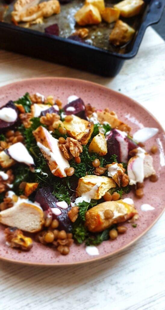 Warm Lentil, Root Veg & Chicken Salad; Delalicious; Sinead Delahunty