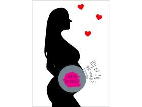 Gender reveal kraskaart zwangere meisje