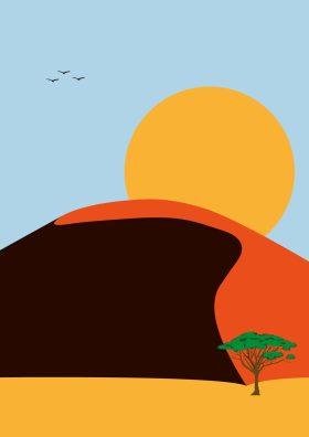 Poster van duinen in een woestijnlandschap
